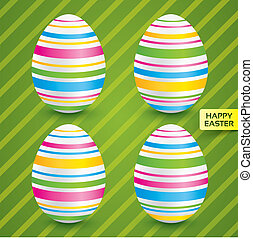 Easter white eggs with colorful patterns (set)