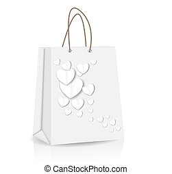 Empty Shopping Bag with heart  for advertising and branding vector illustration