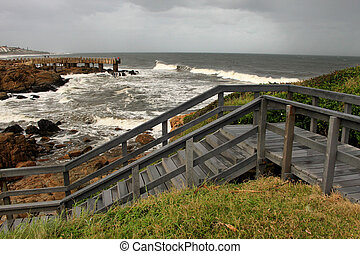Drewniany, kroki, konkretny, Molo, burza