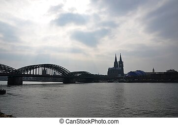 Panorama of Koeln - Rhine, Hohenzollern Bridge and Cathedral...
