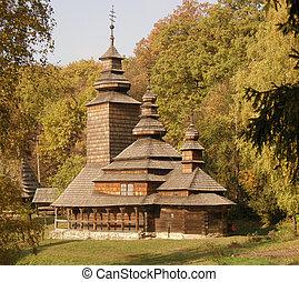 Wooden Church of Transcarpathia. Museum Pyrohiv. Kiev....
