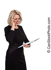 Portrait of a mature business woman with documents in hand