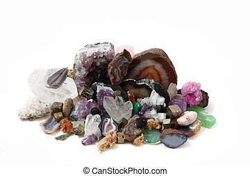 collection of gems and minerals isolated on the white...