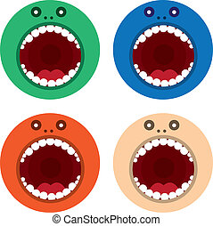 Monster Mouth Round Colors - Large round monster mouth in...