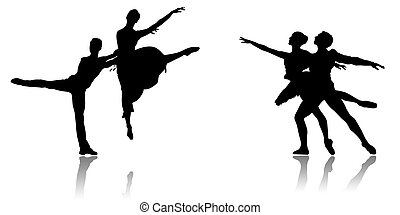 Dances - Black silhouette of dancing couples on a white...