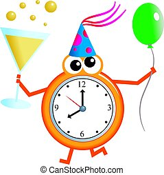 party time - Mr clock man holding a glass of champagne in...