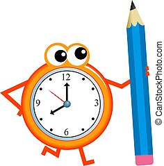 pencil time - Mr time holding a giant pencil isolated on...