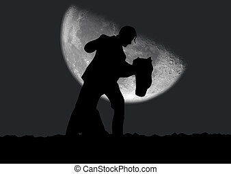 Dances - Black silhouette of dancing couple on a night...