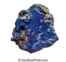 Azurite, cobalto, azul, piedra, aislado, blanco