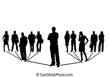 Network team of people on white background