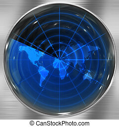Blue World Radar - The world map in a radar screen - blips...