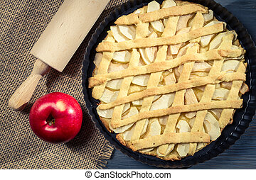 Freshly baked apple pie with fruit