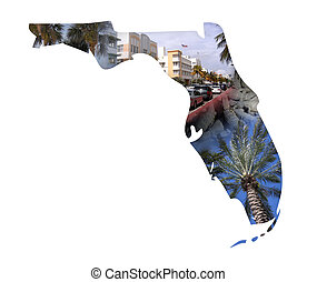 Florida Collage - The state of Florida in a montage isolated...