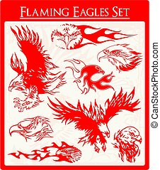 Flaming Eagles - eagle tattoo