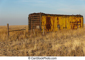 Abandoned railroad car in field
