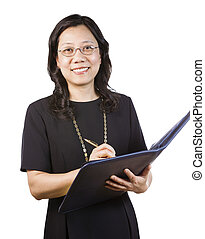 Mature Asian Woman in Business attire with writing tools - A...