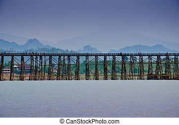 Cityscape of wooden bridge at Sangklaburi in Kanchanaburi, Thailand