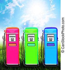 Green fuel pump - Green gasoline fuel pump ecology concept...
