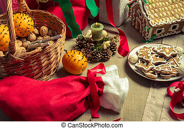 Close-up on Christmas goodies on the table