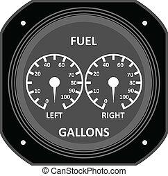 Aircraft instrument. - Aircraft Fuel Gauge.