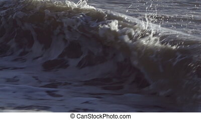 Wave Crashing on Beach in Spray - Shot at 240 fps, a small...