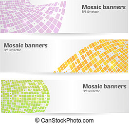 Set of mosaic banners