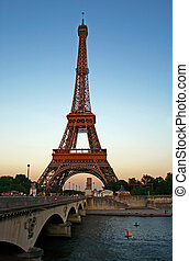 Eiffel tower at dusk - Eiffel tower and Sena river at dusk,...