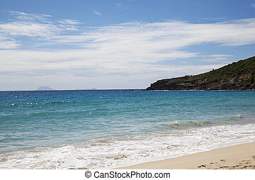 Saline beach at St. Barths, French West Indies with the view...