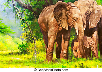 Oil paintings An elephant