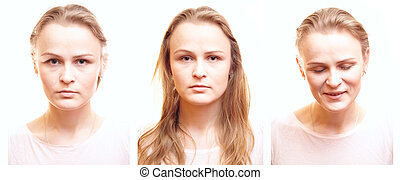 Girl passport photos with different emotions.