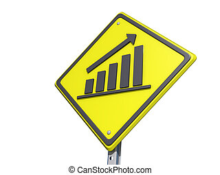 Up Bar Graph Yield Sign White Bg - A yield road sign with Up...