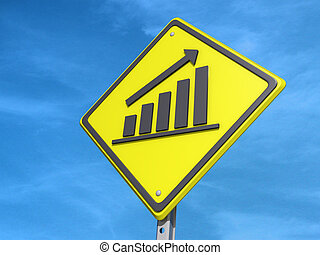 "Up Bar Graph Yield Sign - A yield road sign with ""Up Bar..."