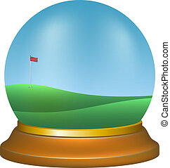 Paper weight with golf scenery