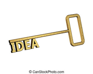 golden key with word idea on a white background