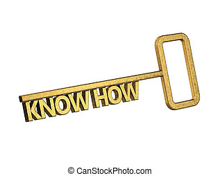 golden key with word know how on a white background
