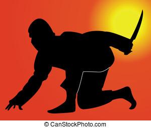 ninja with a knife