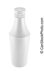 Mayonnaise souce platic bottle over white background -...