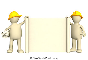 3d builders with roll of document