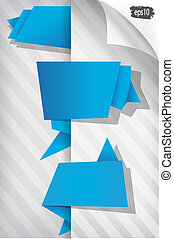 set of blue origami tags