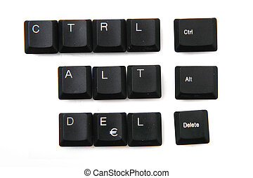 ctrl + alt + delete from keyboar keys isolated on the white...