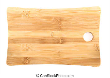 Wooden cutting board over white background - Wooden cutting...