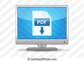Flat screen tv with pdf download icon on a striped...