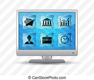 Flat screen monitor with icons - Flat screen monitor with...