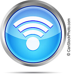 blue wifi icon on a white