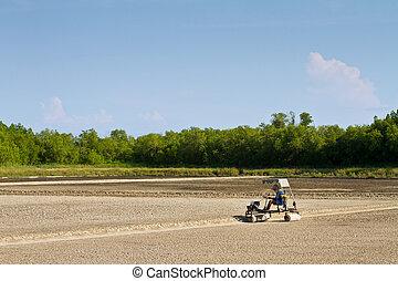Roller car in salt farm