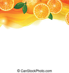 Vector Background with Orange Fruits - Vector Illustration...