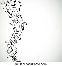 vecteur, musique, notes