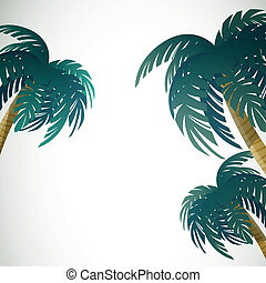 Vector Palm Leaves - Vector Illustration of Palm Leaves on...