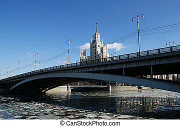 Bolshoy Ustinsky Bridge in Moscow, Russia-- is a steel arch...
