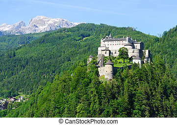 Werfen, Austria - Burg Hohenwerfen in Werfen, Austria....